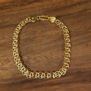 14K Real Yellow Gold Italian Woven Bracelet